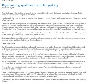 Rejuvenating aged hands with fat grafting